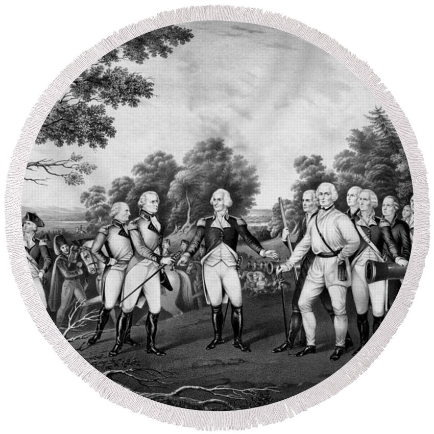 Revolutionary War Round Beach Towel featuring the drawing The Surrender Of General Burgoyne by War Is Hell Store