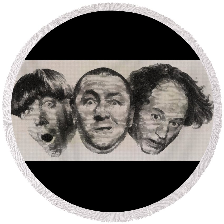 Three Round Beach Towel featuring the drawing The Three Stooges Hollywood Legends by John Springfield