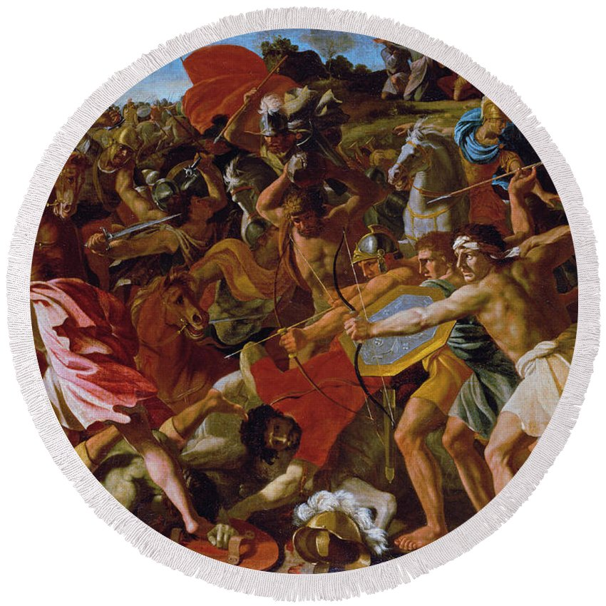 Nicolas Poussin Round Beach Towel featuring the painting The Victory Of Joshua Over The Amalekites by Nicolas Poussin