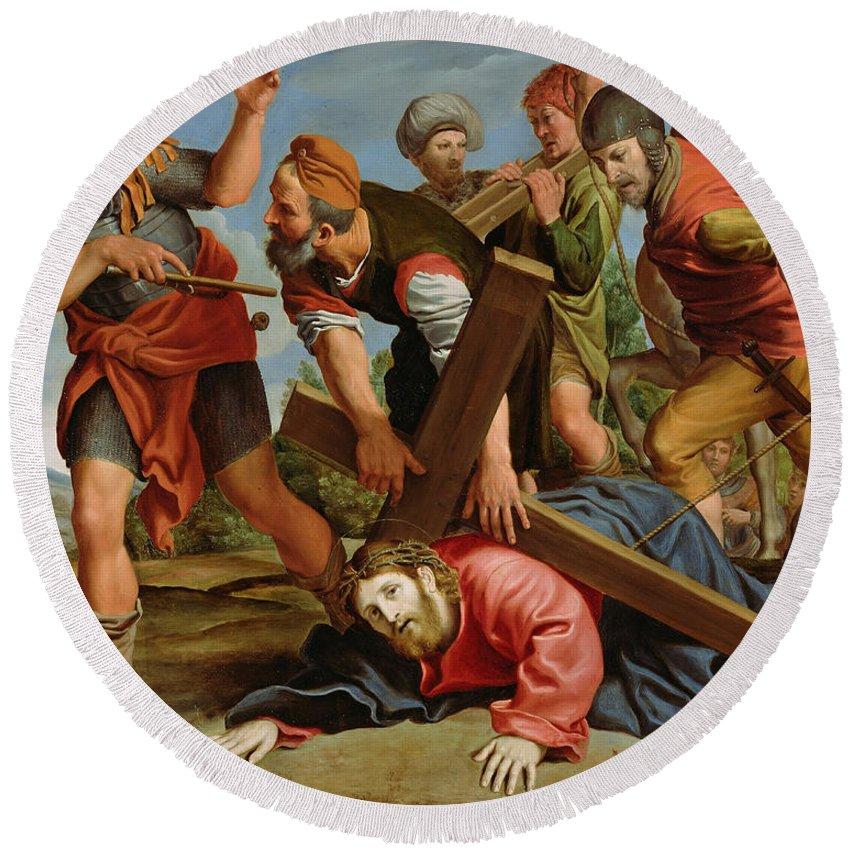 Domenichino Round Beach Towel featuring the painting The Way To Calvary by Domenichino