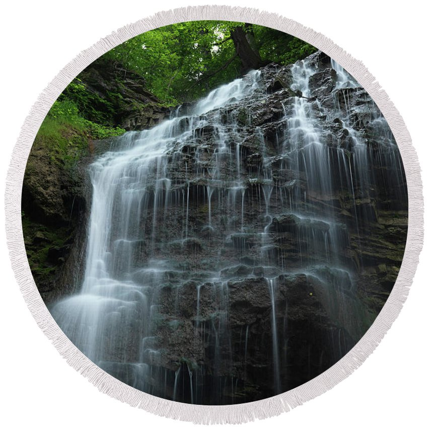 Waterfall Round Beach Towel featuring the photograph Tiffany Falls by Maxim Images Prints