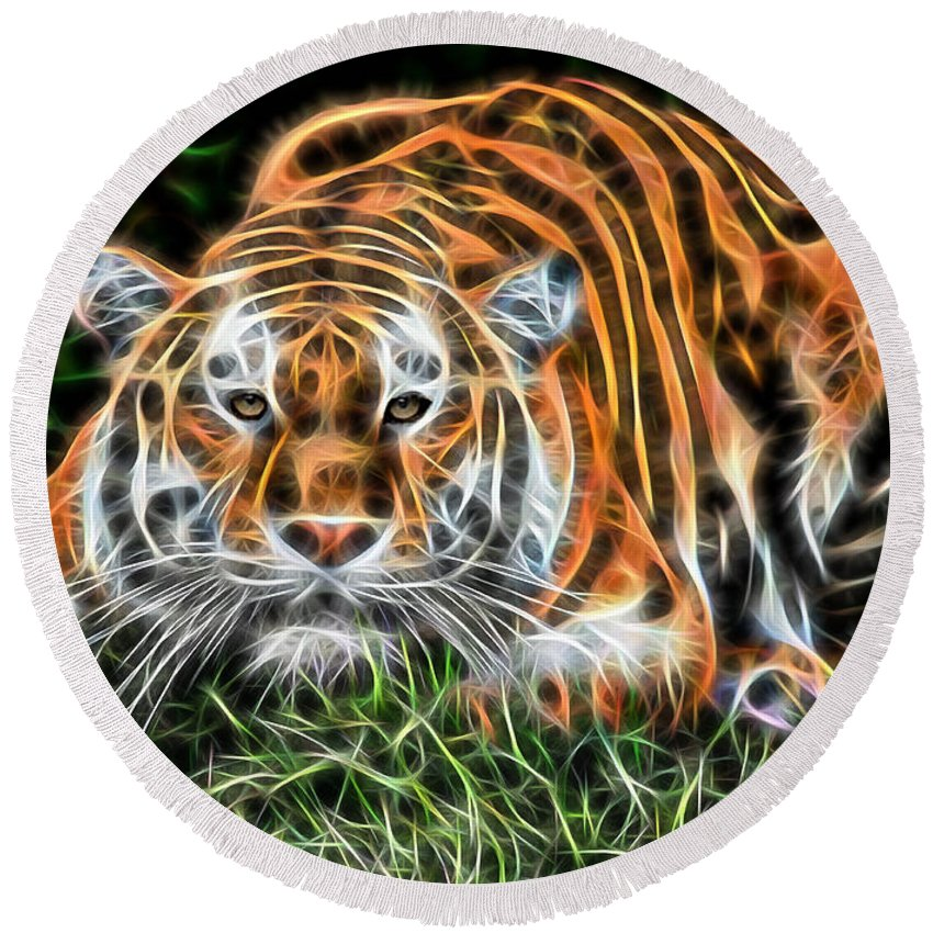 Tiger Art Round Beach Towel featuring the mixed media Tiger Collection by Marvin Blaine