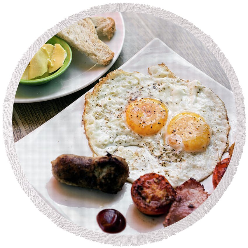 Bacon Round Beach Towel featuring the photograph Traditional English British Fried Breakfast With Eggs Bacon And by Jacek Malipan