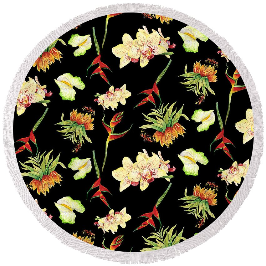 Orchid Round Beach Towel featuring the painting Tropical Island Floral Half Drop Pattern 3 by Audrey Jeanne Roberts