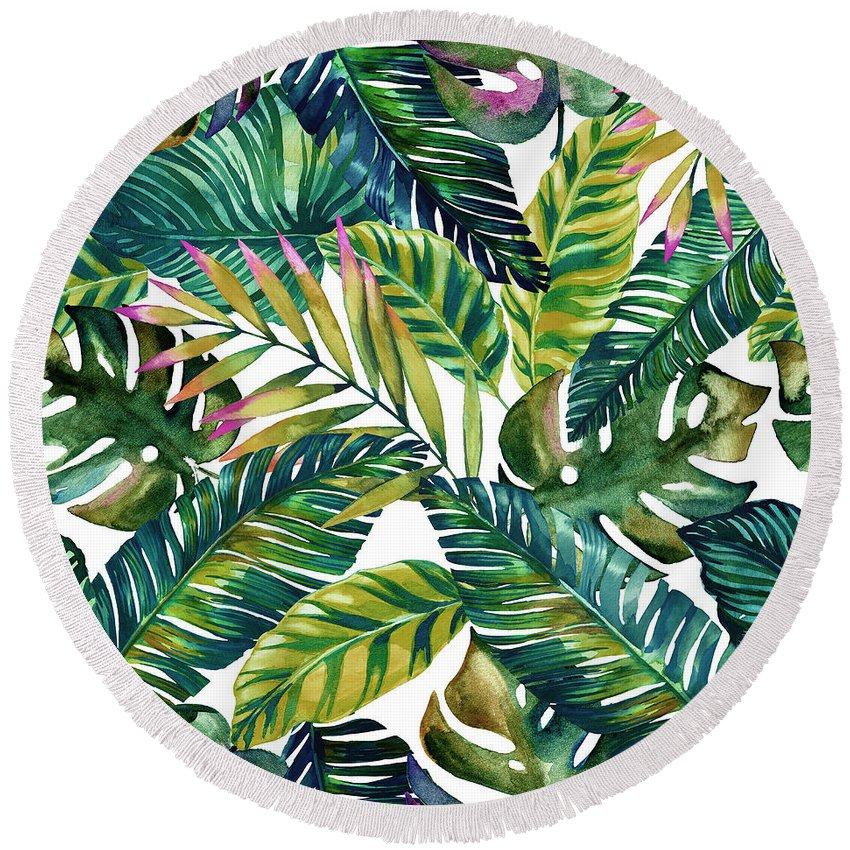 Summer Round Beach Towel featuring the digital art Tropical by Mark Ashkenazi
