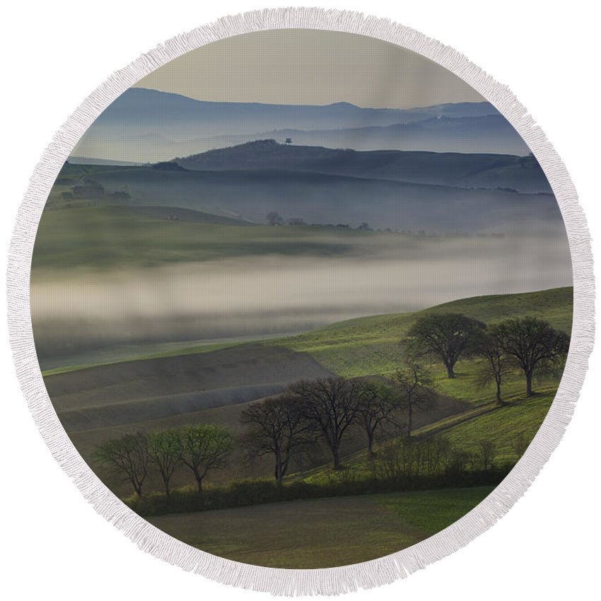 April Round Beach Towel featuring the photograph Tuscan Dawn by Brian Jannsen