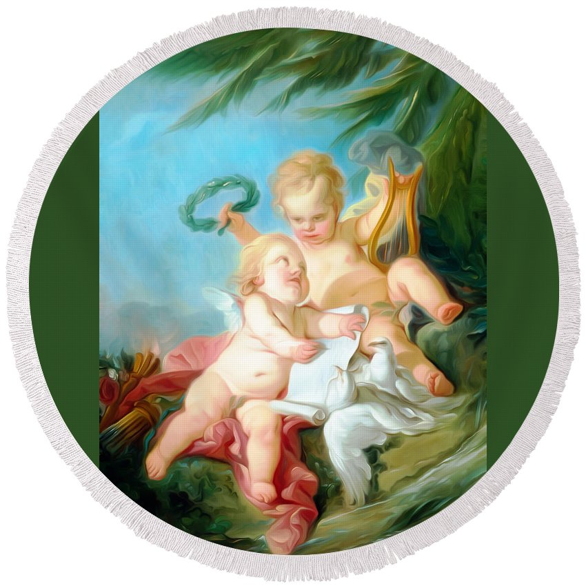 Angel Round Beach Towel featuring the painting Two By Two by Munir Alawi