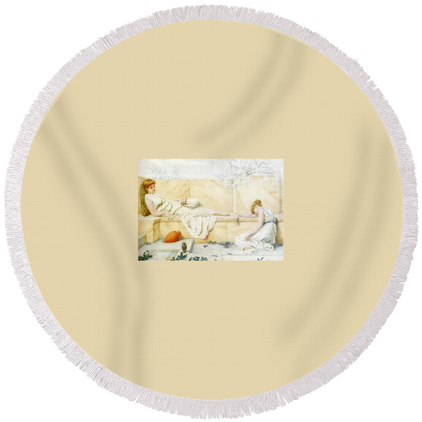 Stucco Round Beach Towel featuring the digital art Two Classical Figures Reclining Henry Ryland by Eloisa Mannion