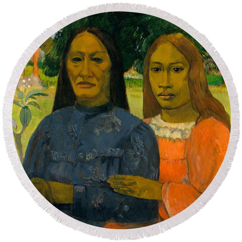 Paul Gauguin Round Beach Towel featuring the painting Two Women by Paul Gauguin