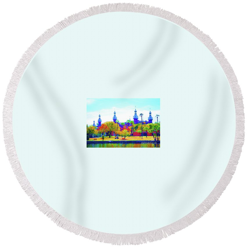University Round Beach Towel featuring the painting University Of Tampa by Jost Houk