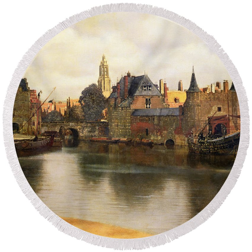 View Round Beach Towel featuring the painting View Of Delft by Jan Vermeer