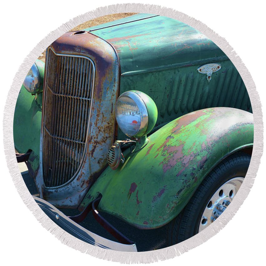 Transportation Round Beach Towel featuring the photograph Vintage Ford Truck by Richard Jenkins