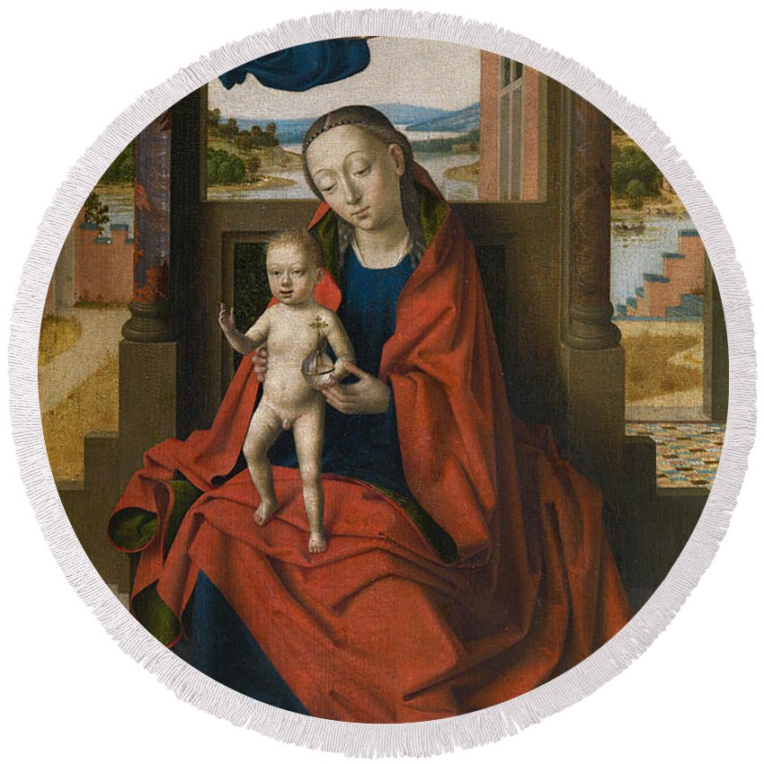 Angel Round Beach Towel featuring the painting Virgin And Child by Petrus Christus