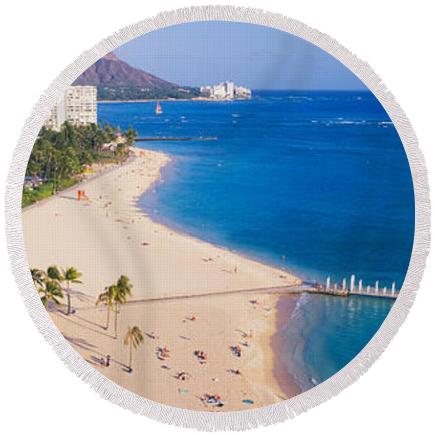 Photography Round Beach Towel featuring the photograph Waikiki Beach And Diamond Head by Panoramic Images