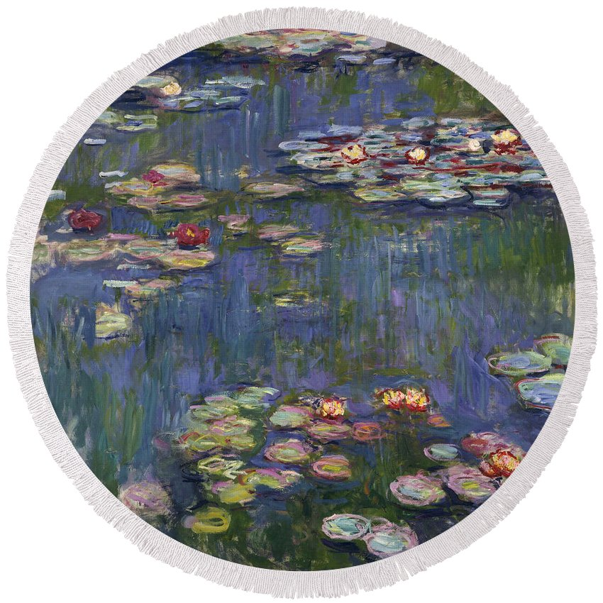 Monet Round Beach Towel featuring the painting Water Lilies, 1916 by Claude Monet