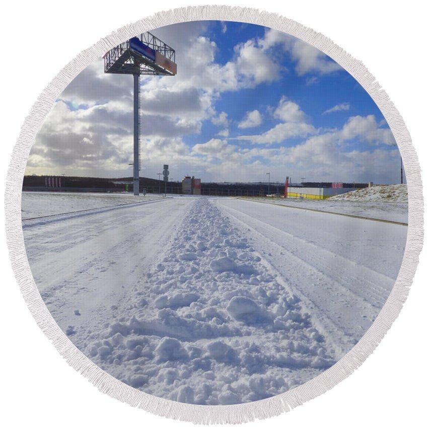 Background Round Beach Towel featuring the photograph Winter by Miroslav Nemecek