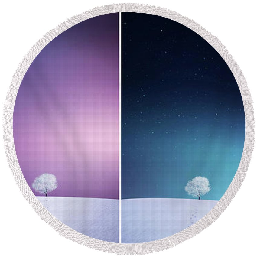 Landscape Round Beach Towel featuring the photograph Winter Tree by Bess Hamiti