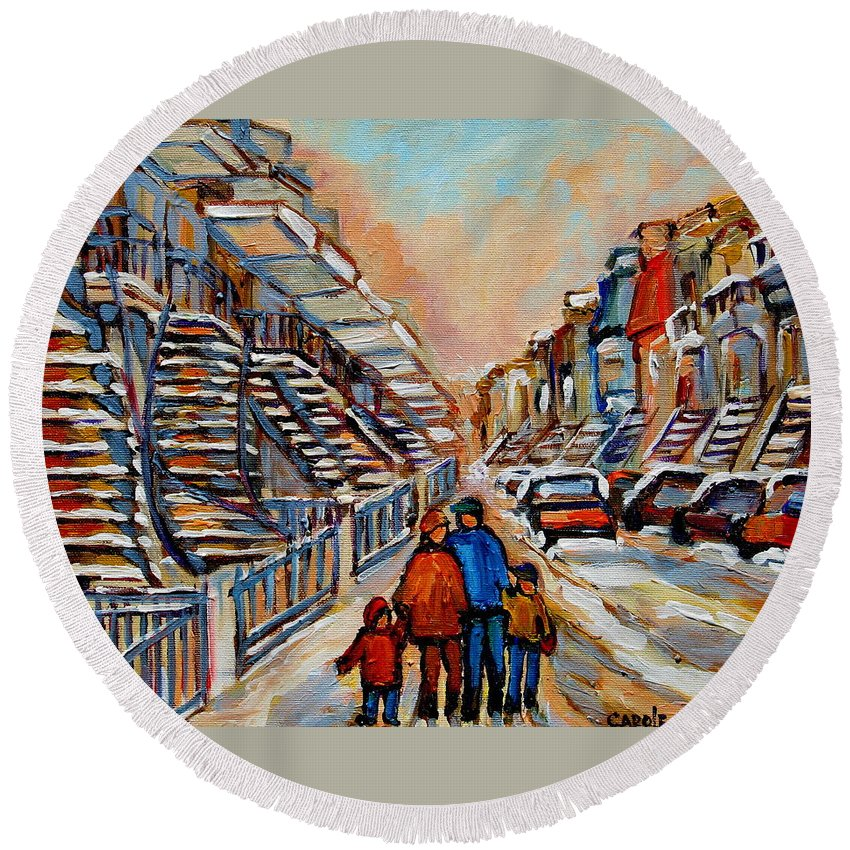 Montreal Round Beach Towel featuring the painting Winter Walk In Montreal by Carole Spandau
