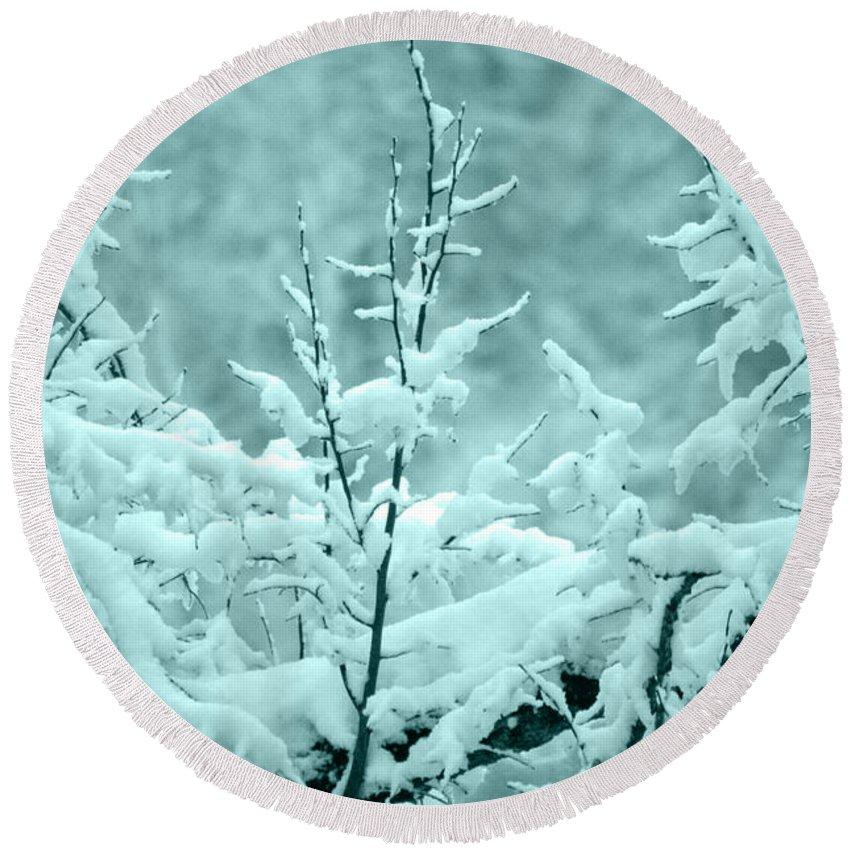 Trees Round Beach Towel featuring the photograph Winter Wonderland In Switzerland by Susanne Van Hulst