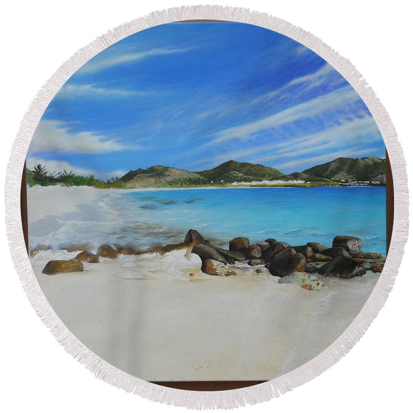 Round Beach Towel featuring the painting Wip- Orient Beach by Cindy D Chinn