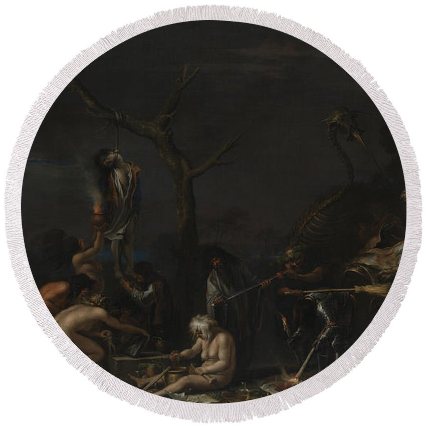 Italian Art Round Beach Towel featuring the painting Witches At Their Incantations by Salvator Rosa