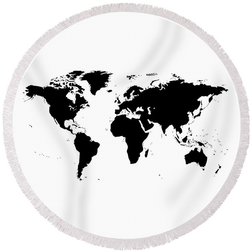 World map black and white round beach towel for sale by marianna mills world map round beach towel featuring the digital art world map black and white by gumiabroncs Gallery