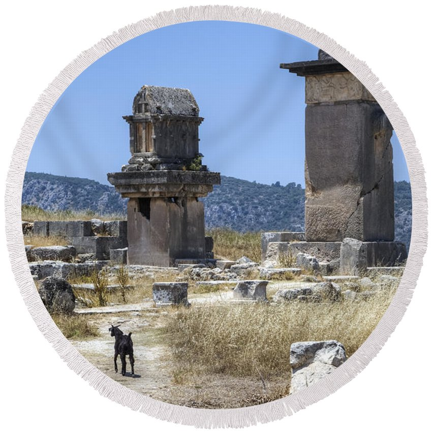 Xanthos Round Beach Towel featuring the photograph Xanthos - Turkey by Joana Kruse