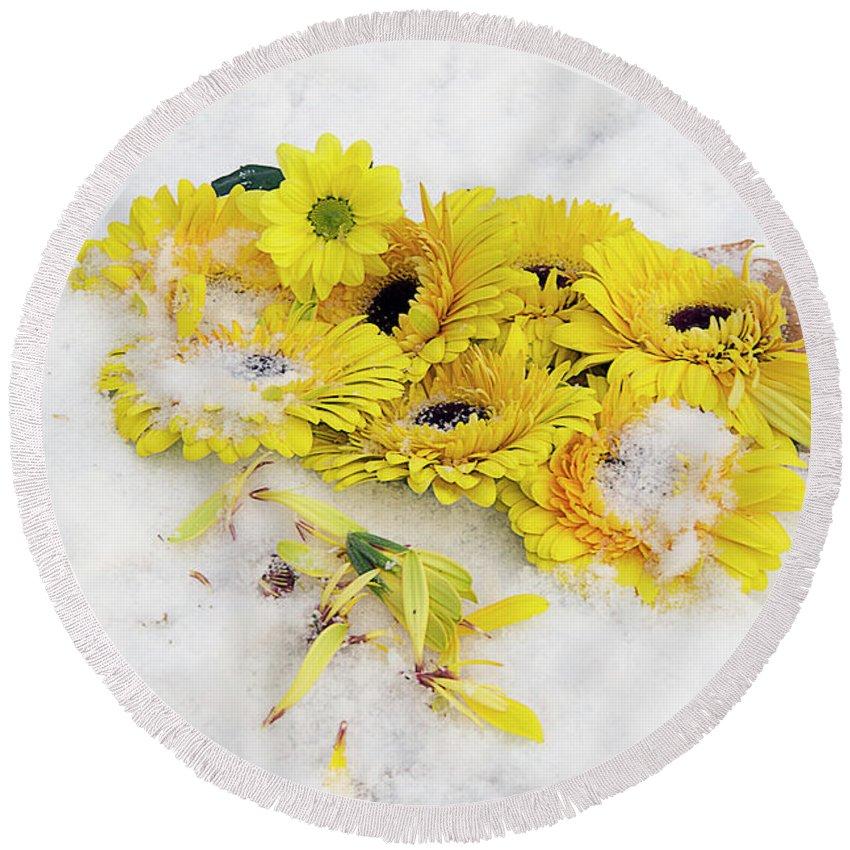 Flowers Round Beach Towel featuring the photograph Yellow Gerbers by Elvira Ladocki