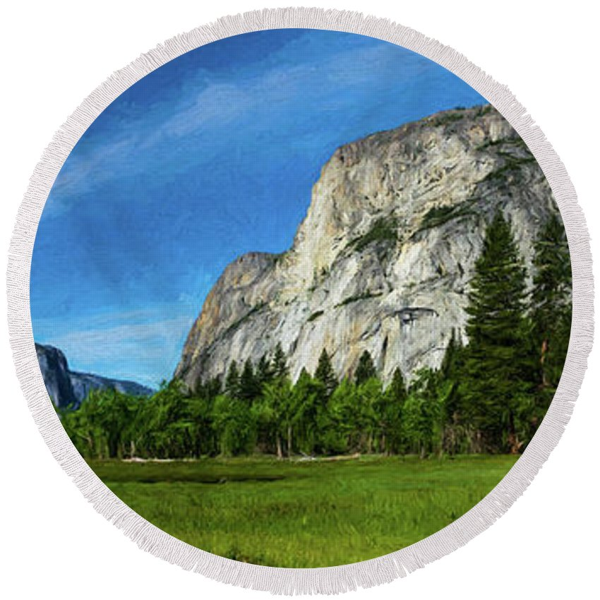 California Round Beach Towel featuring the digital art Yosemite Valley Meadow Panorama by Randy Herring
