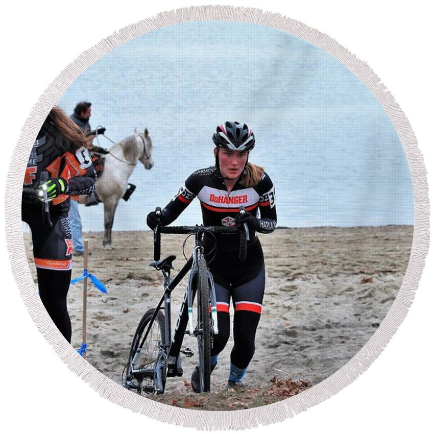 Longsjo Classic Round Beach Towel featuring the photograph Fearless Femme Racing by Donn Ingemie