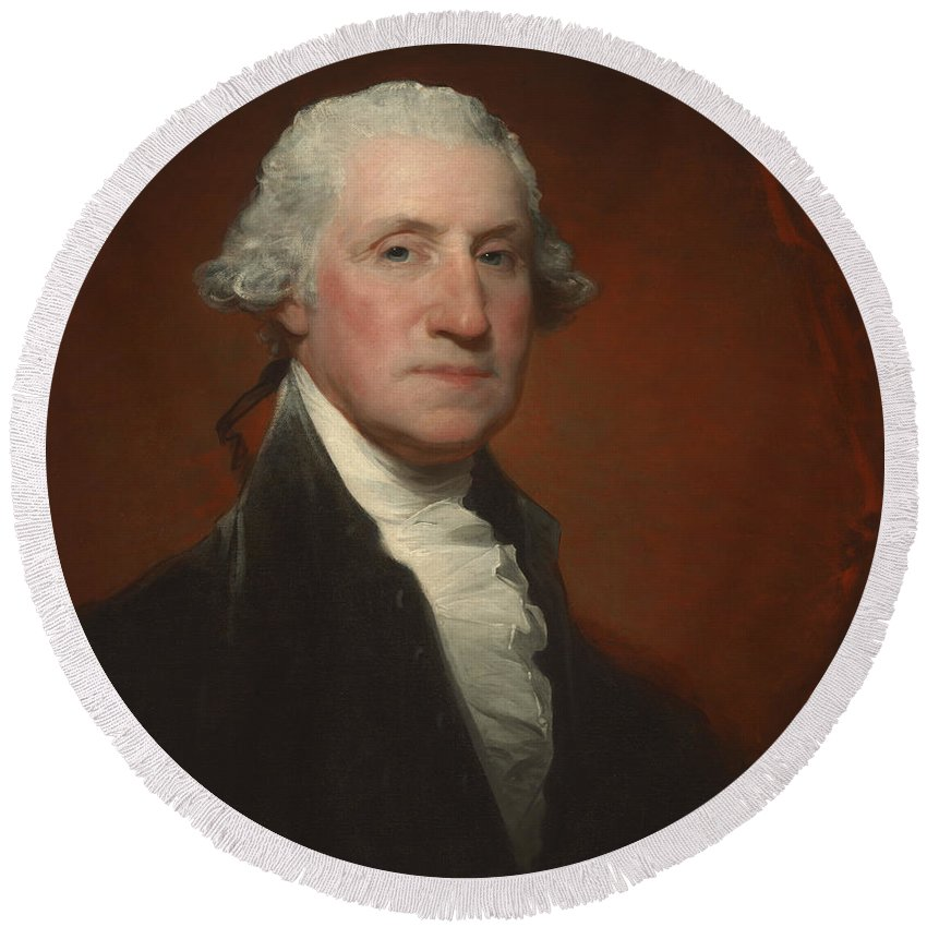 George Washington Round Beach Towel featuring the painting George Washington by Gilbert Stuart