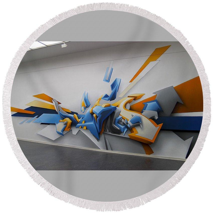 Graffiti Round Beach Towel featuring the digital art Graffiti by Mery Moon