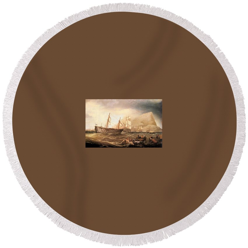 Wreck Round Beach Towel featuring the digital art Miller Charles Henry Shipping Off Gibraltar Charles Henry Miller by Eloisa Mannion