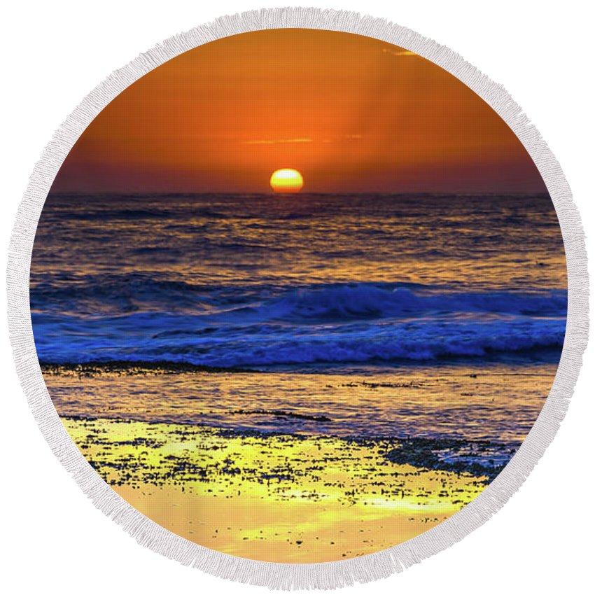 Australia Round Beach Towel featuring the photograph Sunrise Seascape And Rock Platform by Merrillie Redden