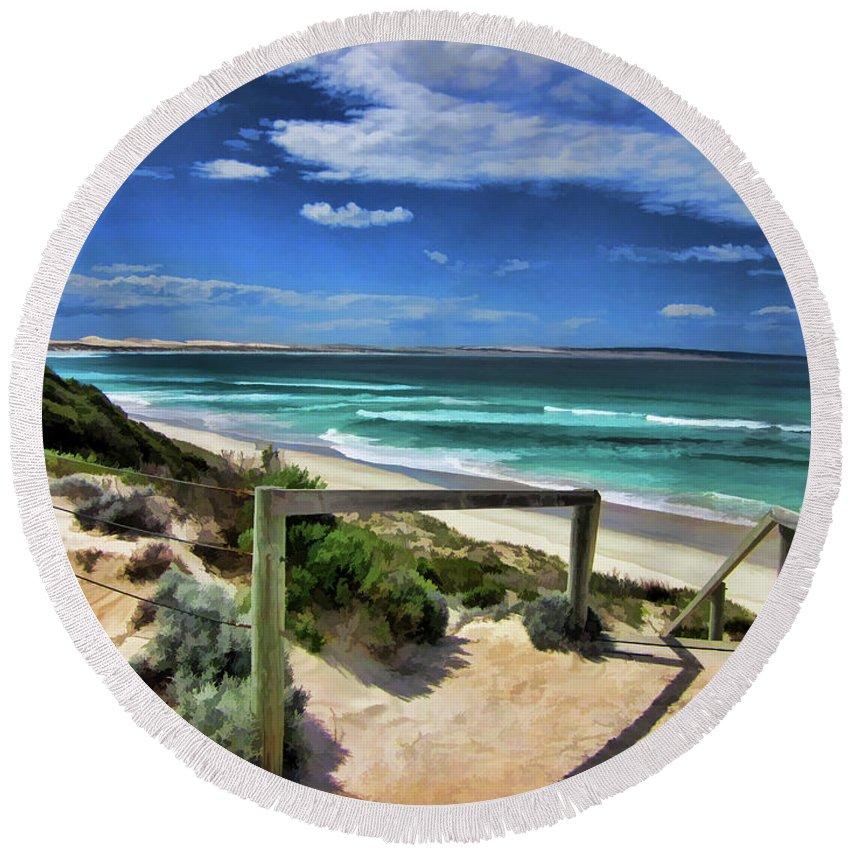 Beach Round Beach Towel featuring the photograph 200 Steps by Douglas Barnard
