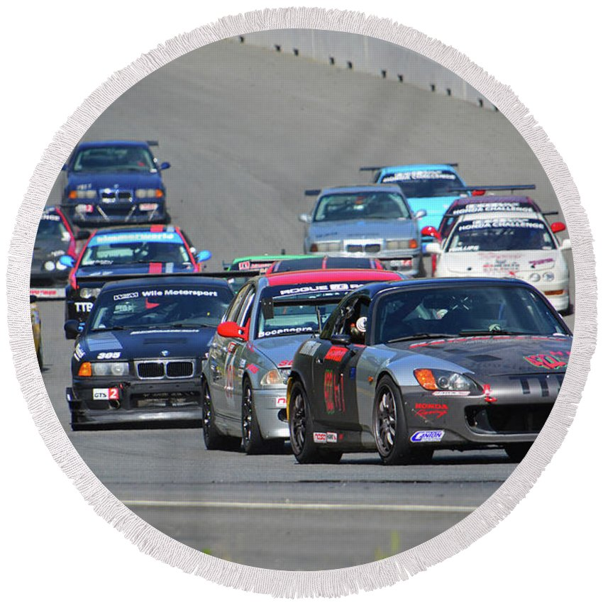 Motorsports Round Beach Towel featuring the photograph 2003 Honda S2000 Leads Pack by Mike Martin