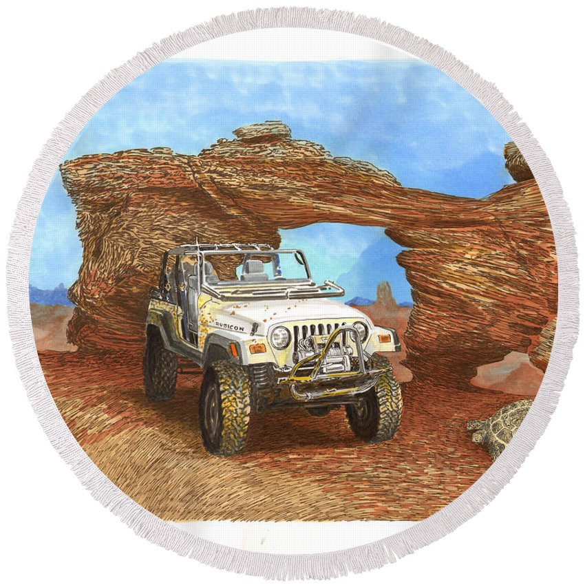 F2005 Jeep Rubicon 4 Wheeler Round Beach Towel featuring the painting 2005 Jeep Rubicon 4 Wheeler by Jack Pumphrey