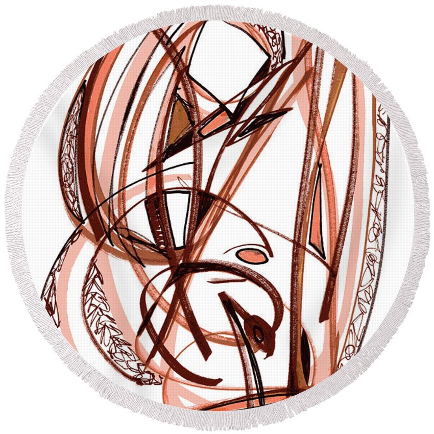 Abstract Art Round Beach Towel featuring the drawing 2010 Abstract Drawing Five by Lynne Taetzsch