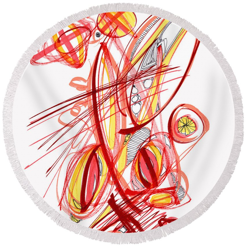 Abstract Round Beach Towel featuring the drawing 2010 Drawing Two by Lynne Taetzsch