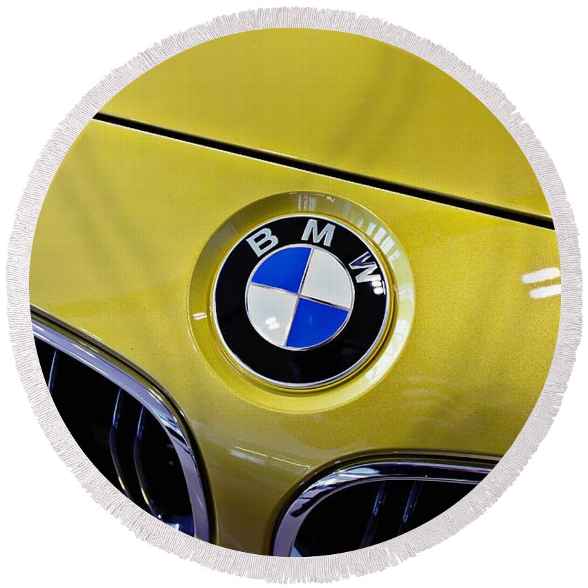 Bmw Round Beach Towel featuring the photograph 2015 Bmw M4 Hood by Aaron Berg