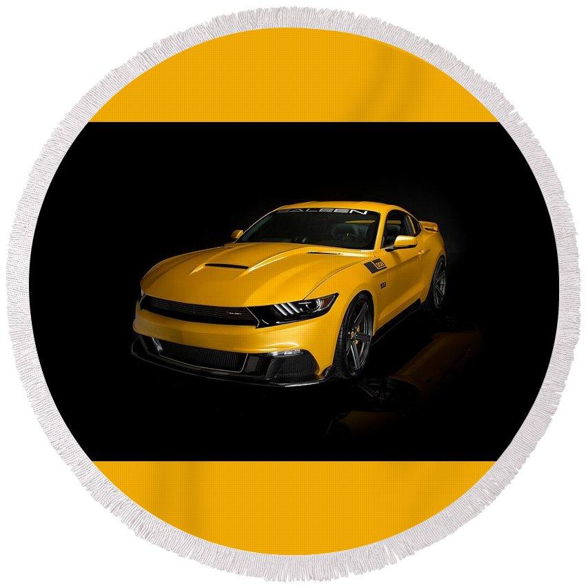 Saleen Mustang S02 Black Label Round Beach Towel featuring the digital art 2015 Saleen Mustang S302 Black Label by Rose Lynn