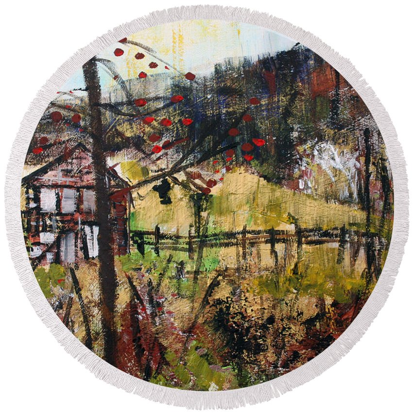 Republika Srpska Round Beach Towel featuring the painting 2015027 Hillside Pasture Srpsko Sarajevo by Alyse Radenovic