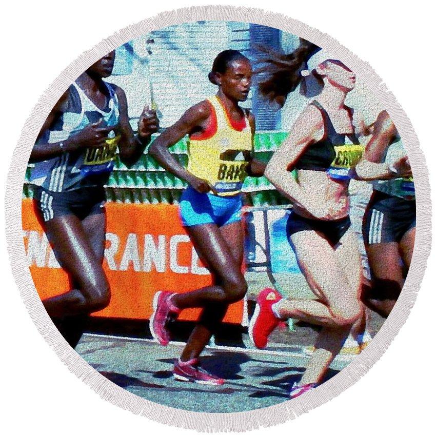Running Round Beach Towel featuring the painting 2016 Boston Marathon Winner 2 by Cliff Wilson