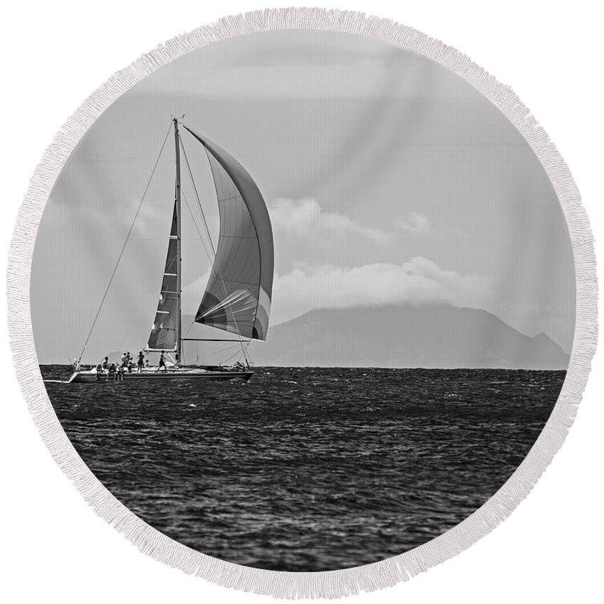 2017 Round Beach Towel featuring the photograph 2017 Heineken Regatta Sailing Past Saba Saint Martin Sint Maarten Red Sail Black And White by Toby McGuire