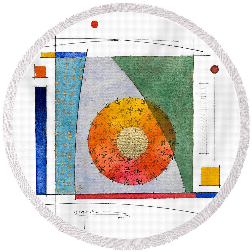 Abstract Round Beach Towel featuring the painting 2017.08.30 Behind The Curtain by Marc Olsen