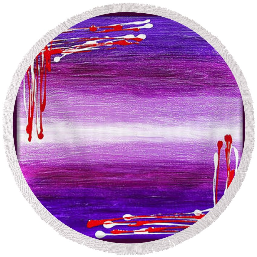 Abstract Round Beach Towel featuring the painting 207917-24-27 by Svetlana Sewell