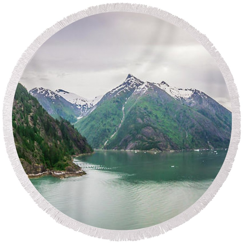 Glacier Round Beach Towel featuring the photograph Glacier And Mountains Landscapes In Wild And Beautiful Alaska by Alex Grichenko