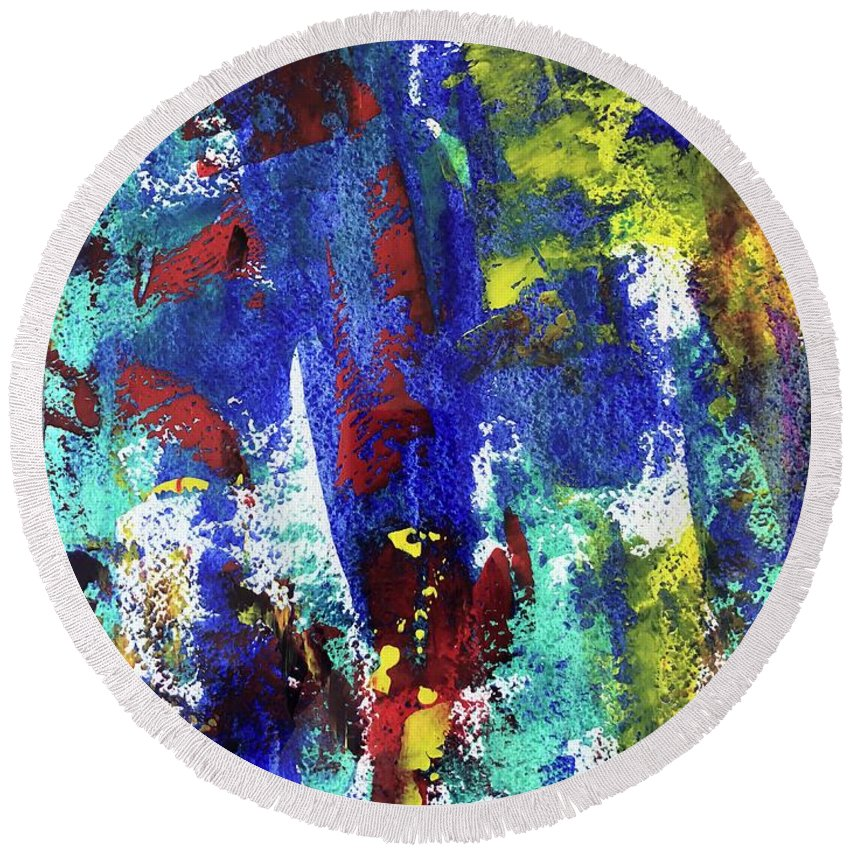 Bright Round Beach Towel featuring the mixed media #21053 by Liyri Art