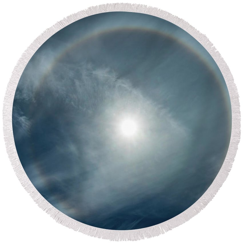 22 Degree Halo Round Beach Towel featuring the photograph 22 Degree Solar Halo by William Freebilly photography