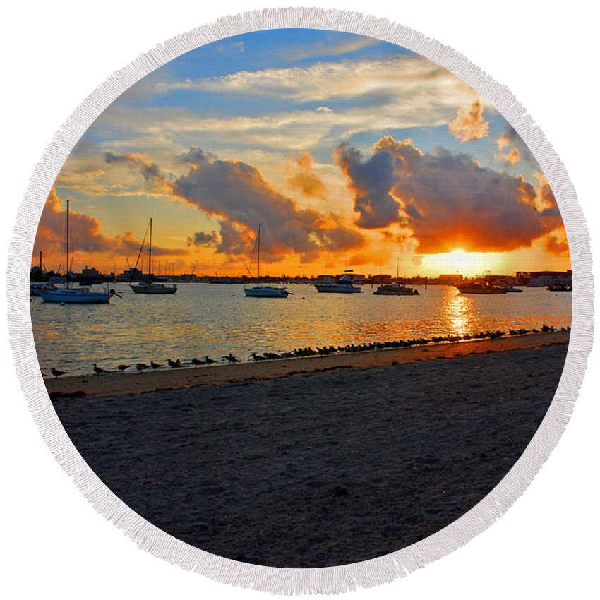 Phil Foster Park Round Beach Towel featuring the photograph 22- Sunset At Seagull Beach by Joseph Keane
